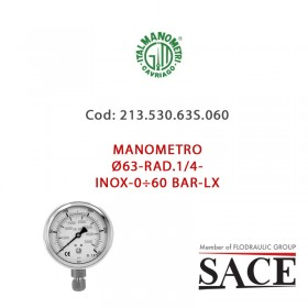 213.530.63S.060 - MANOMETRO Ø63-RAD.1/4-INOX-0÷60 BAR-LX