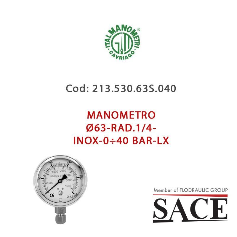 M637PFL400 - PRESSURE GAUGE Ø63 FLAN.1/4-INOX-0÷400 BAR-LX